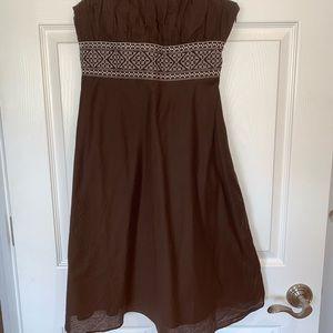 Ann Taylor Loft Strapless Brown Dress, 6P